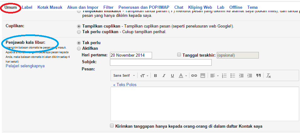 Cara Membuat Auto Reply di Gmail